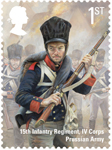 The Battle of Waterloo 1st Stamp (2015) Prussian Infantryman