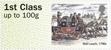 Post & Go : Royal Mail Heritage: Transport 1st Stamp (2016) Mail coach, 1790s