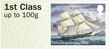 Post & Go : Royal Mail Heritage: Transport 1st Stamp (2016) Falmouth packet ship, 1820s
