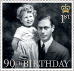 HM The Queen's 90th Birthday 1st Stamp (2016) HM The Queen with her father 1930