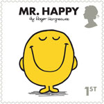 Mr Men and Little Misses 1st Stamp (2016) Mr. Happy