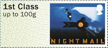 Post & Go : Royal Mail Heritage : Mail by Rail 1st Stamp (2017) Night Mail: Poster
