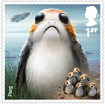 Star Wars - Droids and Aliens 1st Stamp (2017) Porg