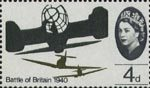 25th Anniversary of Battle of Britain 4d Stamp (1965) Supermarine Spitfires attacking Heinkel HE 111H Bomber