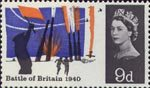 25th Anniversary of Battle of Britain 9d Stamp (1965) Anti-aircraft Artillery in Action