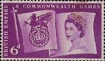 Sixth British Empire and Commonwealth Games, Cardiff 6d Stamp (1958) Flag and Games Emblem