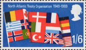 Notable Anniversaries 1s6d Stamp (1969) Flags of NATO Countries
