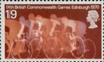 Ninth British Commonwealth Games 1s9d Stamp (1970) Cyclists