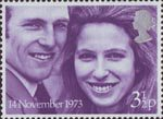 Royal Wedding 3.5p Stamp (1973) Princess Anne and Captain Mark Phillips