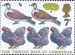 Christmas 1977 7p Stamp (1977) 'Three French Hens. Two Turtle Doves and a Partridge in a Pear Tree'