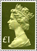 High Value Definitive £1 Stamp (1977) Head, Olive Green - tint, pale greenish yellow