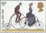 Cycling 9p Stamp (1978) Penny-farthing and 1884 Safety Bicycle
