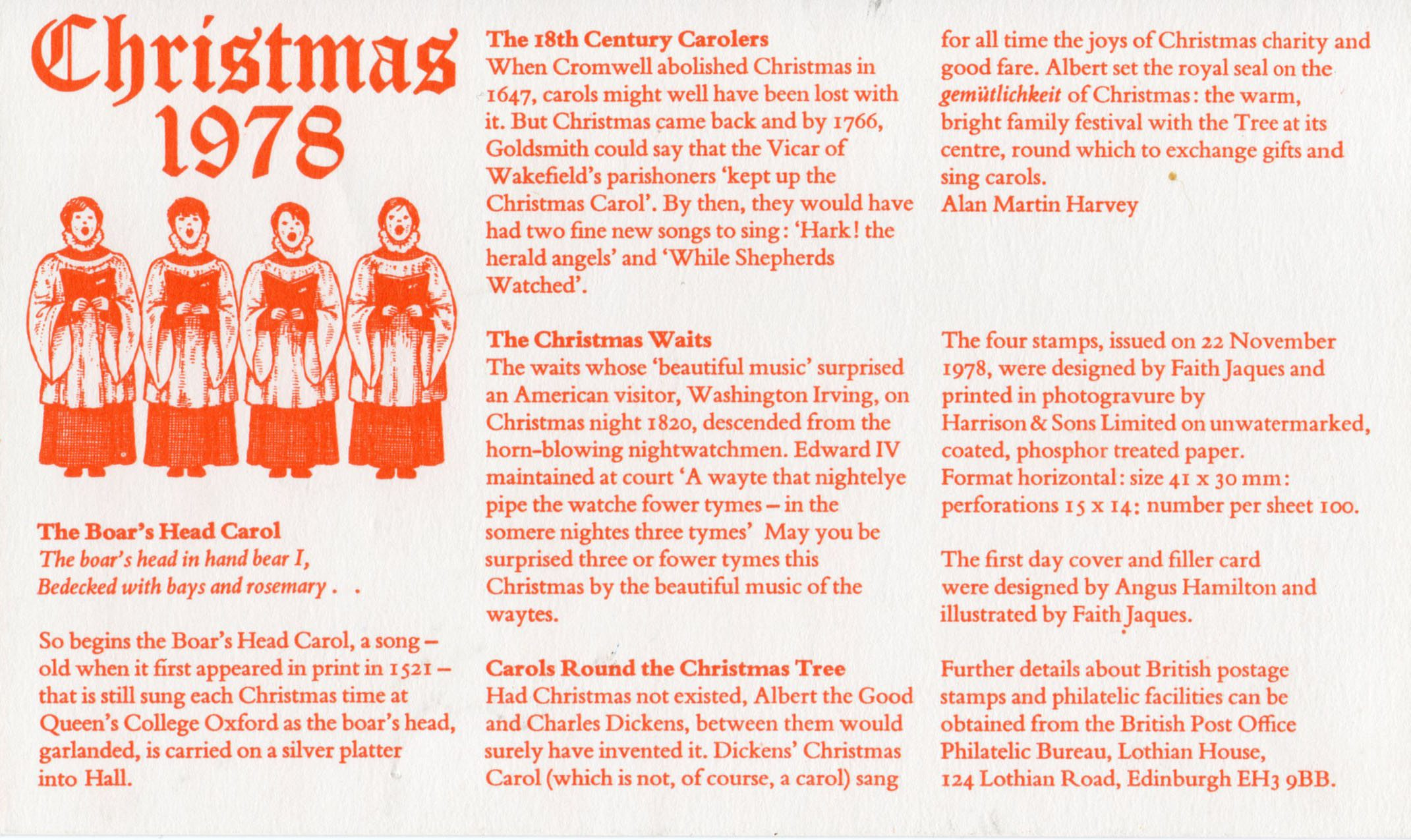 first day cover insert - British Christmas Songs