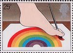 International Year of the Disabled People 25p Stamp (1981) Disabled Artist painting with Foot