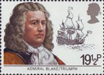 Maritime Heritage 19.5p Stamp (1982) Admiral Blake and Triumph