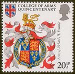 Heraldry 20.5p Stamp (1984) Arms of King Richard III (founder)