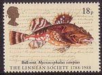 The Linnean Society 18p Stamp (1988) Short-spined Seascorpian ('Bull-rout') (Jonathan Couch)