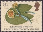 The Linnean Society 26p Stamp (1988) Yellow Waterlily (Major Joshua Swatkin)
