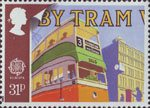 Transport and Communications 31p Stamp (1988) Glasgow Tram No. 1173 and Pillar Box