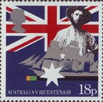 The Australian Bicentenary 18p Stamp (1988) Early Settler and Sailing Clipper