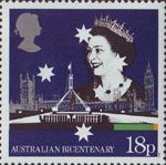 The Australian Bicentenary 18p Stamp (1988) Queen Elizabeth II with British and Australian Parliament Buildings