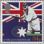 The Australian Bicentenary 34p Stamp (1988) W.G. Grace (cricketer) and Tennis Racquet