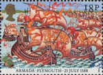The Armada 1588 18p Stamp (1988) English Fleet leaving Plymouth