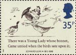Edward Lear 35p Stamp (1988) 'There was a Young Lady whose Bonnet …' (limerick)