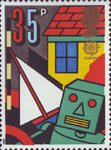Europa. Games and Toys 35p Stamp (1989) Toy Robot, Boat and Doll's House