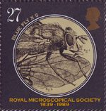 Microscopes 27p Stamp (1989) Caliphora erythrocaphala (fly) (x5)