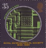 Microscopes 35p Stamp (1989) Microchip (x600)