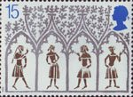 Christmas 1989 15p Stamp (1989) 14th-century Peasants from stained-glass window