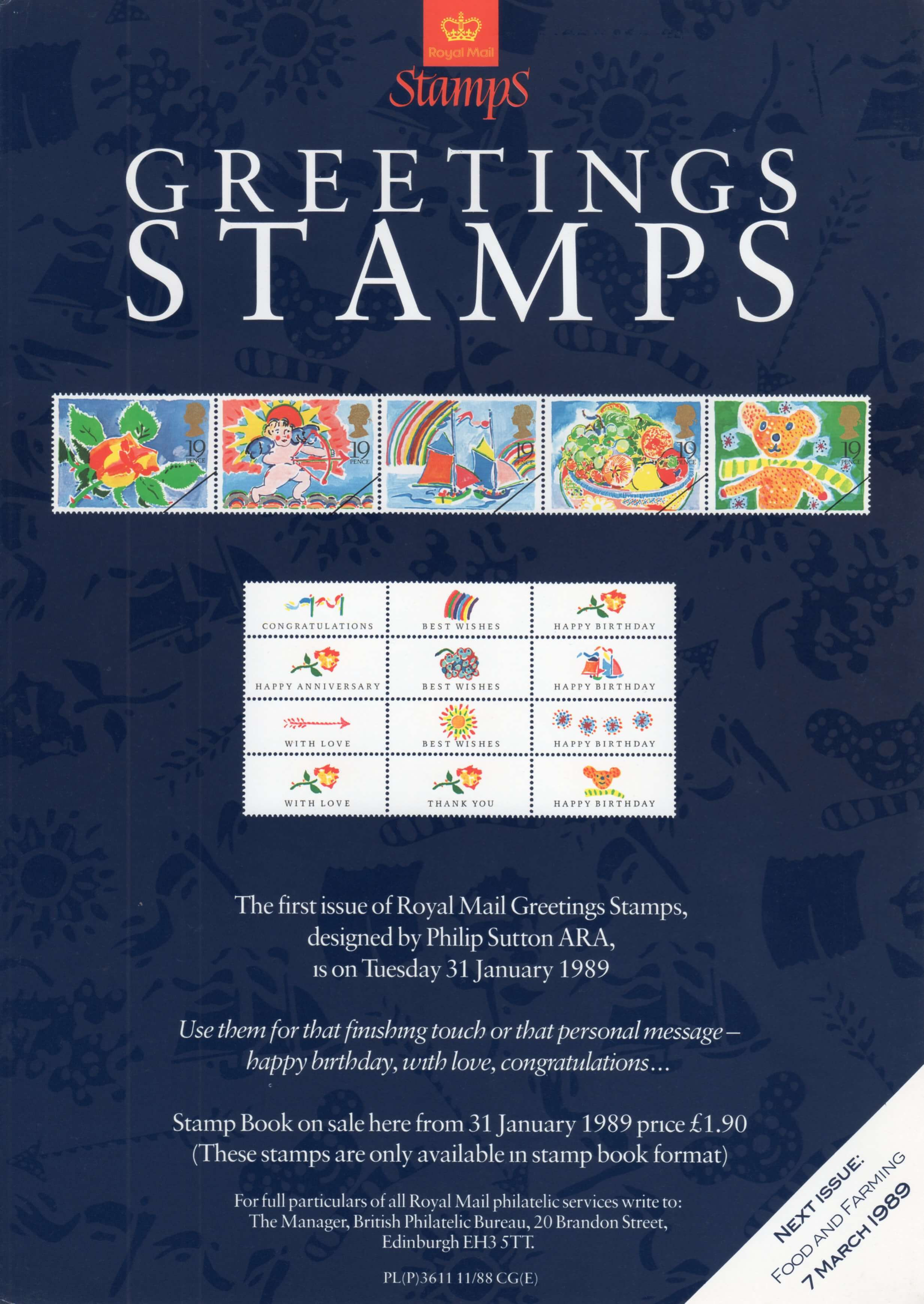 Greetings booklet stamps 1989 collect gb stamps poster m4hsunfo