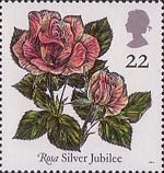 Roses 22p Stamp (1991) 'Silver Jubilee'