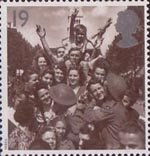 Peace and Freedom 19p Stamp (1995) British Troops and French Civilians celebrating