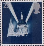 Peace and Freedom 25p Stamp (1995) St Paul's Cathedral and Searchlights