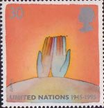 Peace and Freedom 30p Stamp (1995) Symbolic Hands