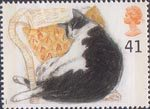 Cats 41p Stamp (1995) Fred (black and white cat)
