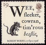 Robert Burns 19p Stamp (1996) Opening Lines of 'To a Mouse' and Fieldmouse