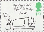 Greetings - Cartoons 1st Stamp (1996) 'My day starts before I'm ready for it' (Mel Calman)