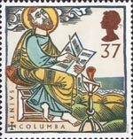 St Augustine and St Columba - Missions of Faith 37p Stamp (1997) St Columba on Iona