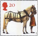 All The Queens Horses 20p Stamp (1997) Carriage Horse and Coachman
