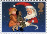 Christmas Crackers, Christmas 1997 2nd Stamp (1997) Children and Father Christmas pulling Cracker