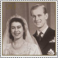 The Golden Wedding Anniversary 1947-1997. Her Majesty the Queen and His Royal Highness the Duke of Edinburgh. 20p Stamp (1997) Wedding Photograph, 1947