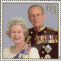 The Golden Wedding Anniversary 1947-1997. Her Majesty the Queen and His Royal Highness the Duke of Edinburgh. 63p Stamp (1997) Queen Elizabeth II and Prince Philip, 1997