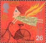 Travellers Tale 26p Stamp (1999) Woman on Bicycle (Development of the bicycle)