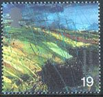 Farmers Tale 19p Stamp (1999) Upland Landscape (Strip Farming)