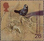 Scientists Tale 26p Stamp (1999) Galapagos Finch and Fossilzed Skeleton ('Darwin's theory of evolution')