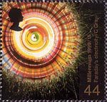 Scientists Tale 44p Stamp (1999) Rotation of Polarized Light by Magnetism (Faraday's work on electricity)