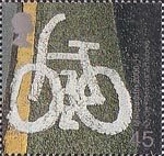 Millennium Projects (5th Series). 'Art and Craft' 45p Stamp (2000) Road marking (Cycle Network Artworks)